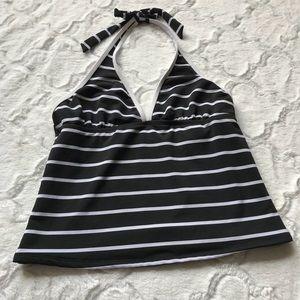 Tommy Hilfiger black and white stripe tankini top